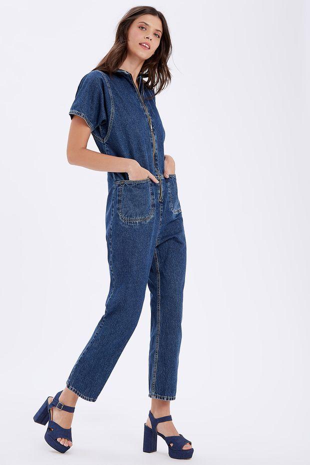 76881435b Macacão Jeans Zíper Frente - lojaabrand
