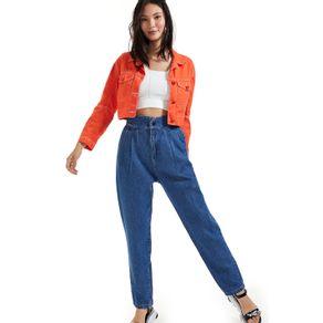 Calça Jeans Carrot Cintura Alta E Pregas Jeans - 40
