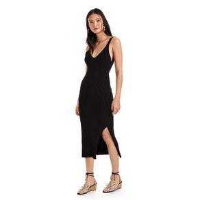 Vestido Tricot Alcinha Com Fenda Preto - P