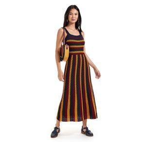 Vestido Alças Largas Textura 3 Cores Vermelho Henna/amarelo Templo/ Azul - P