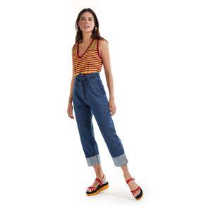 Calça Jeans Pregas Bara Larga Jeans - 36