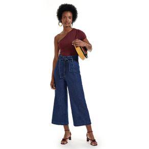Calça Jeans Pantacourt Com Amarração Jeans - 36