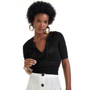 Blusa Tricot Com Amarração Preto - P