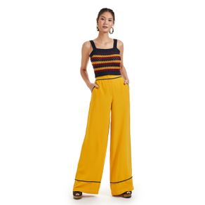 Calça Cintura Alta Crepe Detalhe Vivo Amarelo Chá - 36
