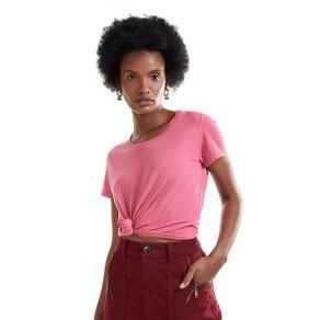 T Shirt Decote Careca Rosa - M