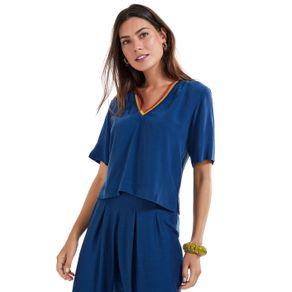 T- Shirt De Seda Decote v Tricot Azul Himalaia - 36