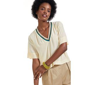 T- Shirt De Seda Decote v Tricot Bege Montanha - 36