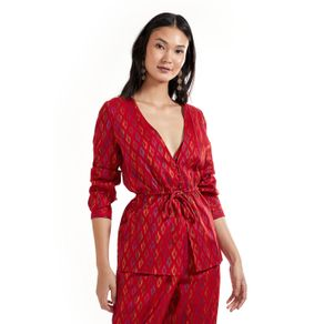 Blusa Com Top Jacquard Colours EstJacquard India Vermelho - 36