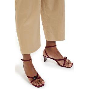 Sandália Tiras Pedra Vermelho Henna - 34
